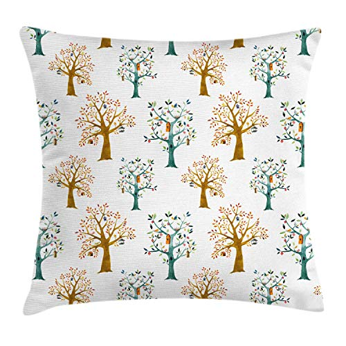 ZUL 3D Print Throw Pillow Covers,Watercolor Layout of Woodland Elements Birds Humming on Trees,Decorative Square Cushion Covers Case for Sofa Couch Home Decor Thanksgiving Christmas