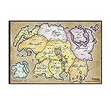 Game The Elder Scrolls Elder Scrolls - Póster de lienzo para pared, diseño de mapa de Skyrim