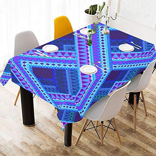 Blau Tartan Plaid Muster Stil Benutzerdefinierte Baumwolle Leinen Gedruckt Platz Fleckenresistent Tischwäsche Tuch Abdeckung Tischdecke Für Küche Home Dining Room Tabletop Decor 60x84 Zoll