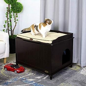 ZCY Kitty Boîte À Litière, Chat Toilettes Stockage Banc en Bois Enceinte Meubles Boîte Maison avec Table, avec Littéraire Et Tapis De Compagnie (Color : Brown)