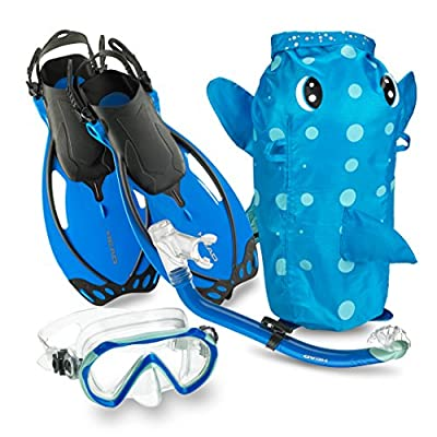 Mares Italian Collection Premium Youth Sea Pals Character Kids Mask Fin Snorkel Set Snorkeling Gear - Ultra-Clear Tempered Glass Lens Snorkeling Set (Blue, Small/9-13)