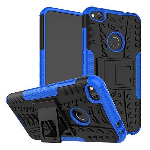 Smfu Funda Compatible Huawei Honor 8Lite/P8 Lite/G9/P9 Lite Carcasa Rugged Híbrido Resistente Absorción Anti-arañazos Funda Absorción Impactos con Pie De Apoyo Caja [con Mica 2Unidades]-Azul
