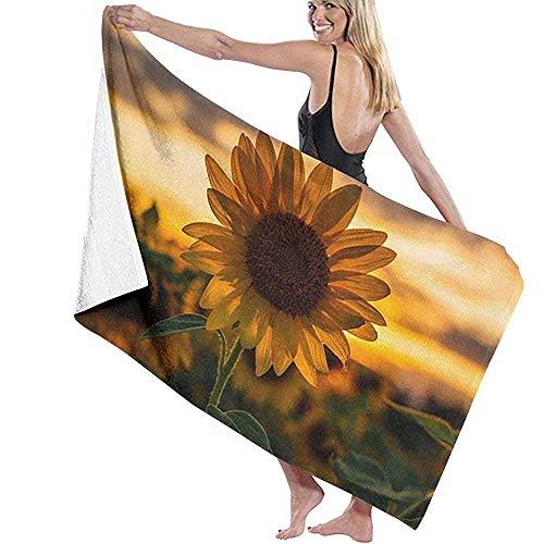 Lfff Girasoles Altos Absorbente Suave y Ligero para baño Piscina Yoga Pilates Manta de Picnic Toallas de Microfibra 80cm * 130cm