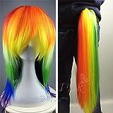 Cosplay Anime My Little Pony Rainbow Color Cloud Treasure Harajuku Wig + Ponytail Full Set A1863