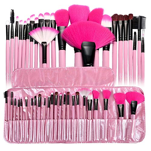 Zodaca 24-piece Set Make Up Brushes with Pouch Bag, Pink