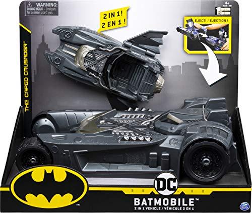 DC Comics Batman, Batmobile y Batboat vehículo Transformador 2 en 1, para Uso con Figuras de acción de 10 cm Batman