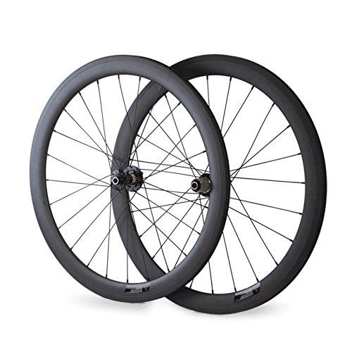 VCYCLE 700C Bici da Strada Carbonio Ruote Copertoncino 50mm Larghezza del Freno a Disco 23mm può Adattarsi Assale Opaco UD (Frontale 15x100mm Posteriore 12x142mm Thru Axle)