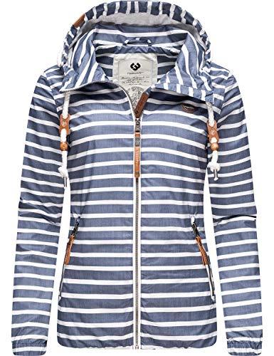 Ragwear Damen Übergangsjacke Regenjacke mit Kapuze Saille Blau Gr. XS