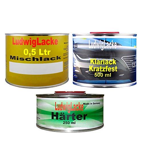 1,25 Liter Set RAL Polarsilber Farbcode: 761 Baujahr 2000-2007 Metallic Lack 0,5 Liter spritzfertiger Basislack 0,5 Liter Klarlack und 0,25 Liter passender Härter