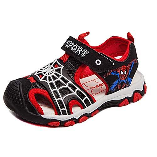 YEMAO Kinder Spiderman Sandalen Sommer, Jungen geschlossene Zehe Leichte Outdoor-Sport-Strand-Schuhe atmungsaktiv,Red-29 EU