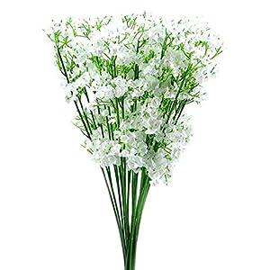 Facibom 12 Stems Artificial White Gypsophila Silk Flower Bunch Baby's Breath