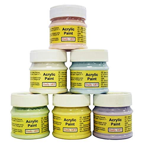 Daily ART Premium Craft Acrylfarben Set Pastellfarben 6 x 50 ml Hoch-Deckend Farben zum Malen & Zeichnen