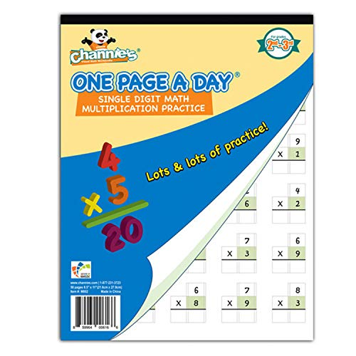 Channie's One Page A Day Single Digit (Beginner) Multiplication Practice Workbook for 2nd-3rd Grades