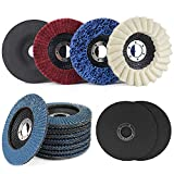 14PCS 4.5 Inch Angle Grinder Polishing Wheels Kit for Metal, Cutting and Grinding Wheel Assorted Grit Flap Discs Strip Disc Scouring Wheel Felt Flap Disc Set for Angle Grinder,7/8 inch Arbor