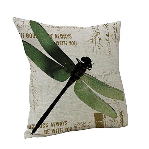 Nunubee Cute Green Dragonfly Printed Linen Cotton Decorative Pillow Cushion Cover Case