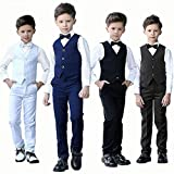 Addneo Suits for Boys Christmas Outfits Kids Gift Black Dress Pants Vest White Shirt Boys Suits Size 6