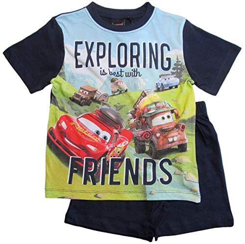 Cars Disney 3 Schlafanzug Jungen Shorty Lightning McQueen (Blau, 98-104)