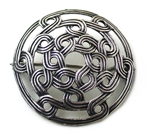 LynnAround 925 Sterling Silver Norse Viking Shield Brooches, Cloak, Shawl, Scarf Pin, Celtic Irish Vintage Jewelry (Brooch V.2)