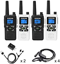 SAMCOM FWCN30A Two Way Radio 22 Channels with NOAA Weather Alert, Rechargeable Handheld FRS Walkie Talkie with Flashlight/LCD Display/Call Tone/Group (4 Packs) (Black/White)