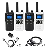 SAMCOM FWCN30A Two Way Radio 22 Channels with NOAA Weather Alert, Rechargeable Handheld FRS Long Range Walkie Talkie with Flashlight/LCD Display/Call Tone/Group (4 Packs) (Black/White)
