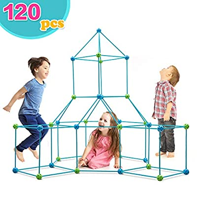 Obuby Kids Crazy Construction Fort Building Kit 120 Pieces Ultimate Forts Builder Gift Build Making Kits Toys for Boys and Girls to DIY Building Castles Tunnels Play Tent Rocket Tower Indoor & Outdoor