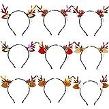 ZOYLINK 9 Stück Haarreifen Weihnachten LED Haarreif Party Kopfbedeckung Stirnbänder Rentier...