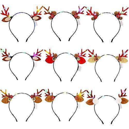 ZOYLINK 9 Stück Haarreifen Weihnachten LED Haarreif Party Kopfbedeckung Stirnbänder Rentier Haarreif Geweih Haarreif Haarschmuck für Weihnachtsfeiern Cosplay Haarband