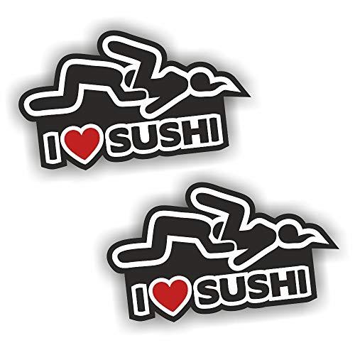 folien-zentrum Adesivo per Auto con Scritta I Love Sushi, 2 Pezzi