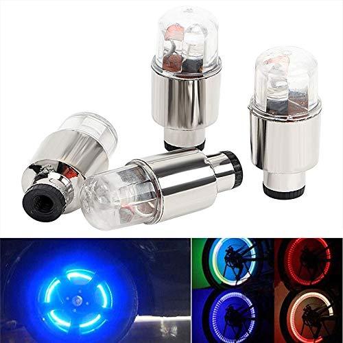 X-BAOFU, 4 stuks autobanden ventieldop neon LED-licht lamp decoratieve verlichting voor fiets fietsen auto motorfiets