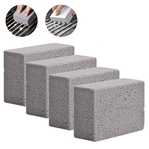 YSBER 4 Pack Grill Cleaning Brick Block - Grill Stone/Griddle Cleaner Block -Toxic Odorless Grill Stones Cleaner - Remove Greases Stains Residues Dirt