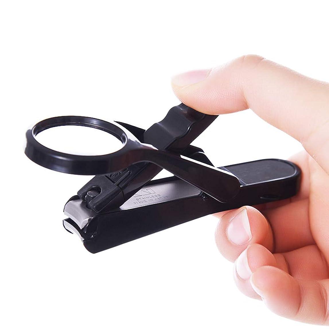 フロント脱獄実行可能ネイルニッパー, 爪クリッパー老人とベビーセーフネイルケアデラックスネイルクリッパー拡大鏡付き 厚くまたは陥入した足指の爪用