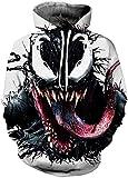 OLIPHEE Felpa Natale Regalo 3D Stampa Digitale Felpe con Cappuccio Alta qualità Regalo Famiglia Festa per Ragazzi Venom-1-C S/M