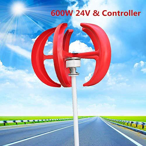 YIYIBY Windkraftanlage 600W 24V Windrad Garten Windturbine windgenerator Haushalt Laterne Vertikale Windgenerator 5 Blätter Windkraftanlage Kit