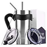 Koodee 20 oz Smoothie Cup Stainless Steel Tumbler Double Wall Travel Flask Mug with Handle, Sip Lid...