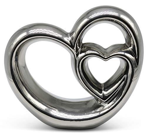 Fijne knik stijlvol dubbel hart ter decoratie - modern decoratief hart 21 cm groot in zilver - decoratie in hartvorm goed geschikt als cadeau-idee