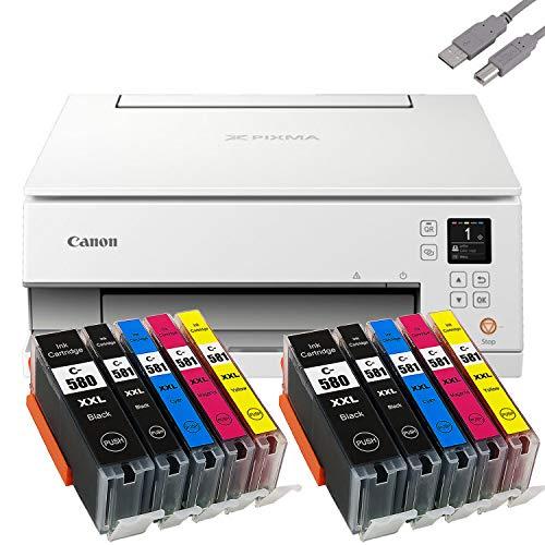 Bundle Canon PIXMA TS6351 Tintenstrahldrucker Multifunktionsgerät (Drucker, Scanner, Kopierer) mit 10 komp. Youprint® Tintenpatronen für PGI-580/CLI-581 XXL +USB-Kabel