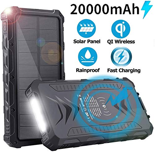 Sendowtek Batería Externa Solar 20000mAh, Batería Portátil Solar Power Bank con Cargador USB/USB C/Qi Wireles para Smartphone Tablet PC, Linterna SOS para Viajes de Campamento