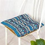 Morbuy Platz Stuhlkissen, 100% Baumwolle Dicke Polsterung Sitzkissen für Gartenstuhl, Küche oder Esszimmerstuhl - Bequeme Atmungsaktiv Indoor Outdoor Stuhlauflage (40 * 40,Böhmen)