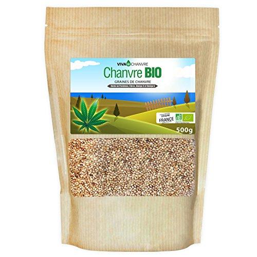 Graines de Chanvre Bio Entières - 500g (non décortiquées)