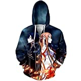 Gosvet 3D Hoodie Sweatshirt Mit Kapuze Sweatshirt Anime HD Druck Sportbekleidung Unisex Tops Reißverschluss Jacke Sword Art Online XL