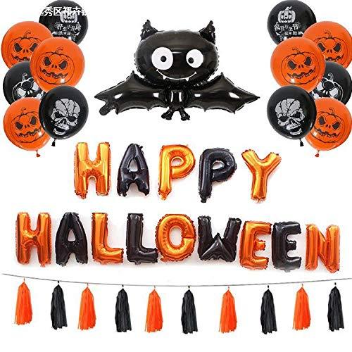 XJZKA Halloween Balloon Halloween Party Decoration Set, Pumpkin Black bat Head bar Decoration Balloon Decoration Supplies, Happy Halloween Banner (2 Sets)