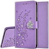 Surakey Funda de piel sintética para Huawei P40 Lite, funda protectora para teléfono móvil con brillantes y brillantes, diseño de flores de ciruelo, funda de piel con tapa, color morado