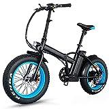 Aggiornamento 500w 36V Pieghevole Fat Tire Bike Elettrico Bicicletta- Rimovibile Batteria Al Litio Bicicletta Elettrica Wiht LED Display Da 20 Pollici Pneumatici E-bike Sport Mountain Bike, (blu) A