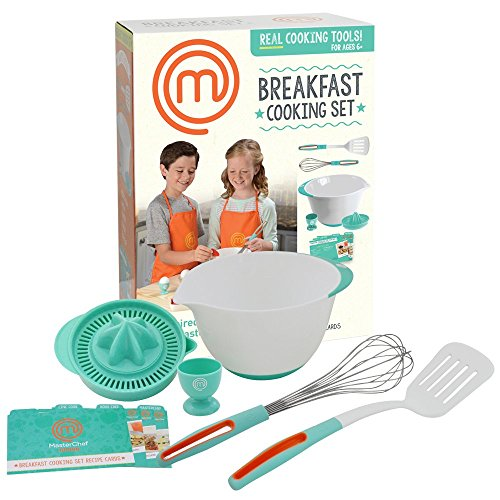 MasterChef Junior Breakfast Cooking Set - 6 Pc Kit Includes Real Cooking Tools for Kids and Recipes