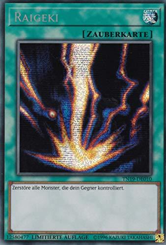 TN19-DE010 - Raigeki - Prismatic Secret Rare - Yu-Gi-Oh - Deutsch - 1. Auflage im Set mit Ultra Pro Toploader und Ultra Pro Schutzhülle (Klarsicht)
