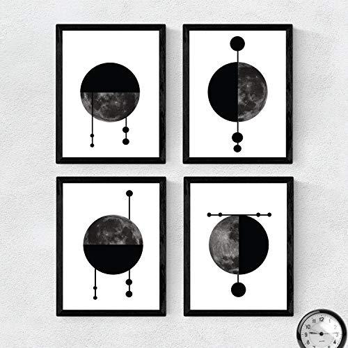 Nacnic Set de 4 láminas para enmarcar Cuatro Lunas Posters Estilo nórdico para la Tamaño A3. Láminas con imágenes de Lunas en Estilo escandinavo… con Marco