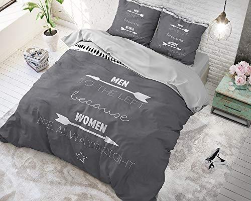 SLEEP TIME Bettwäsche Mrs. Always Right, 240cm x 220cm, Mit 2 Kissenbezüge 60cm x 70cm, Anthrazit
