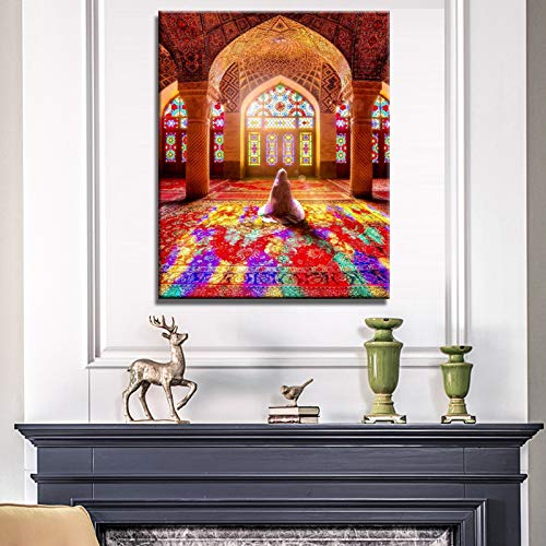 YuFeng Art Inn Original Modern Art Print Oil Painting on Canvas Home Decor Wall Decoration Art Islamic Mosque Posters and Print Wall Art Canvas Painting Wall Decoration Muslim Pilgrims Pictures for Living Room Wall (Unframed-No Framed,24x36inch)