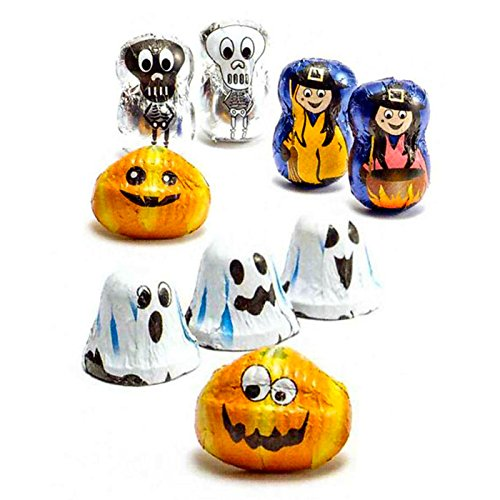 Halloween - Cioccolatini La Suissa Kg 1 - Fantasmini e Zucchette - Praline Assortite di Cioccolato al Latte e Fondenti Ripiene di Morbida Crema - Senza Glutine