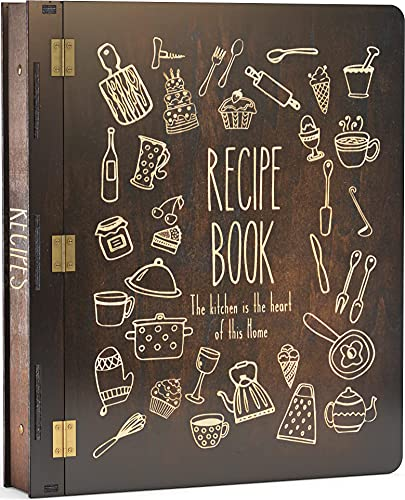 Wood Recipe Book Binder (3 Ring) - Includes 25 Plastic (8.5' x 11') Left Loading Sleeves (holds 50...